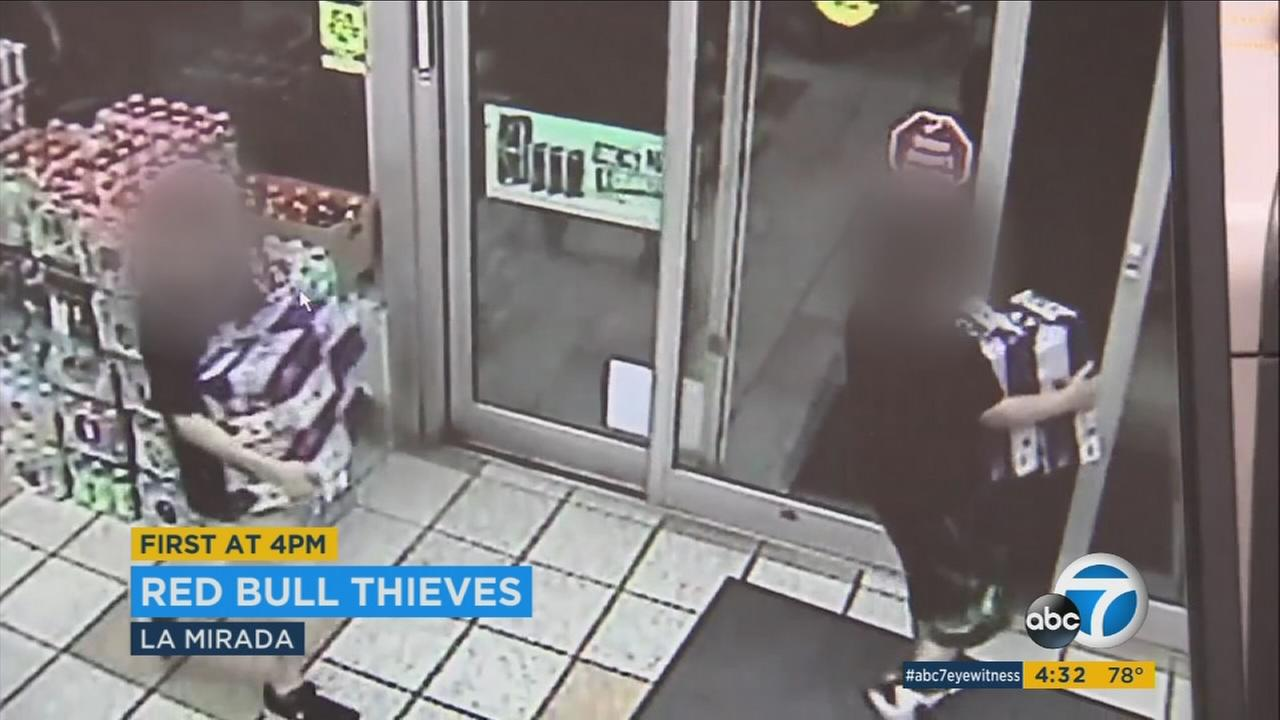 Children were caught on surveillance video stealing cases of Red Bull from a La Mirada ampm.