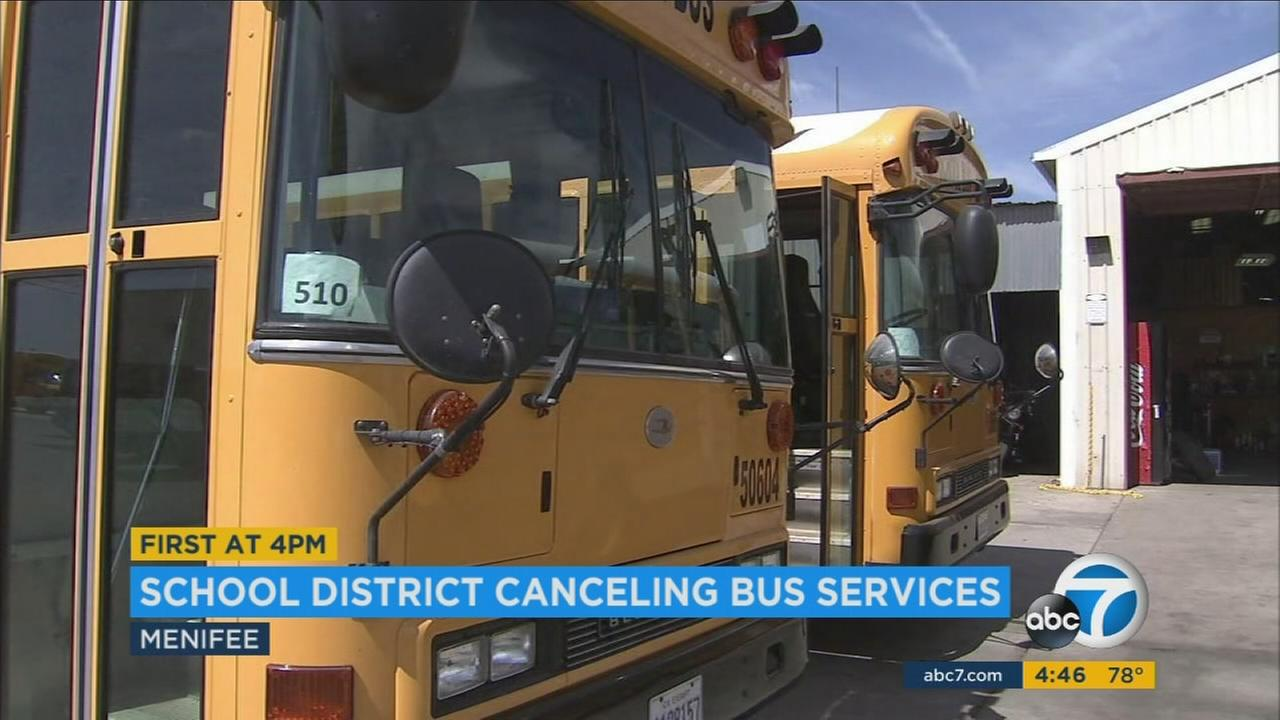 Starting next year, students in a Riverside County school district will have explore other options because the district said it is cancelling buses for almost all students.