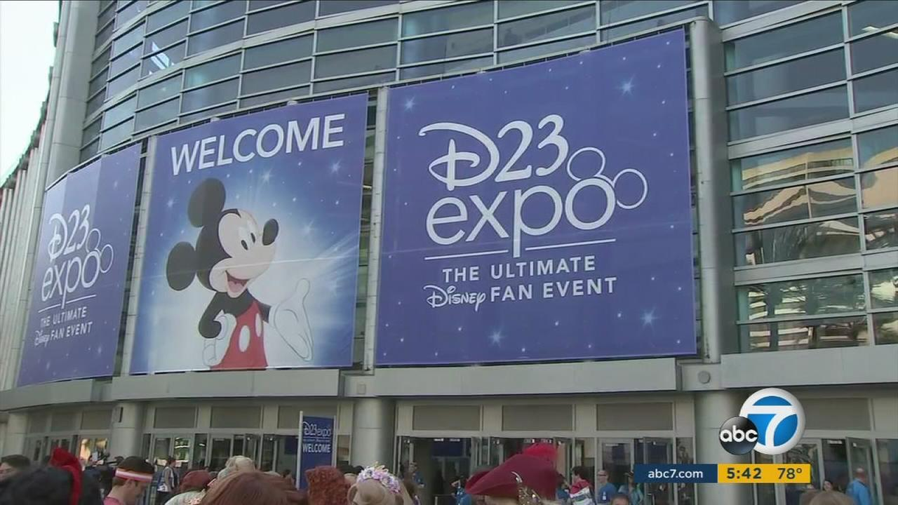 A sign for D23 Expo is shown above the Anaheim Convention Center on Friday, July 14, 2017.
