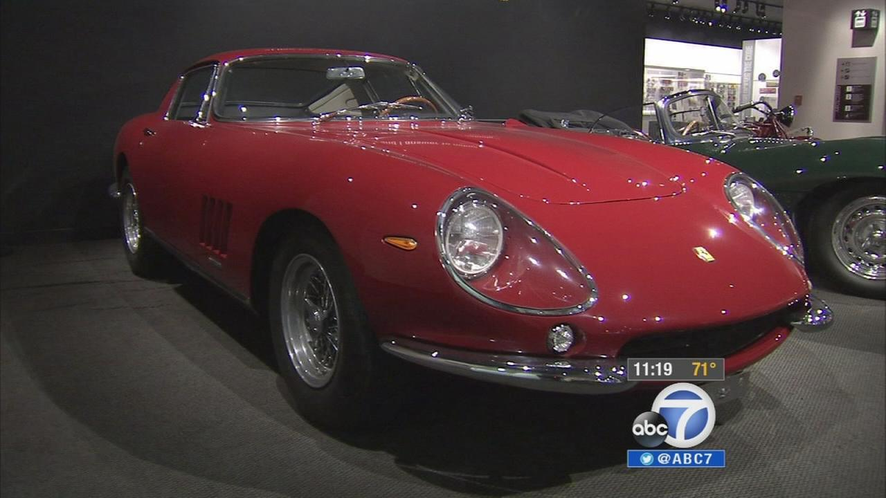 Steve McQueens red Ferrari is shown at the Petersen Automotive Museum in Los Angeles.