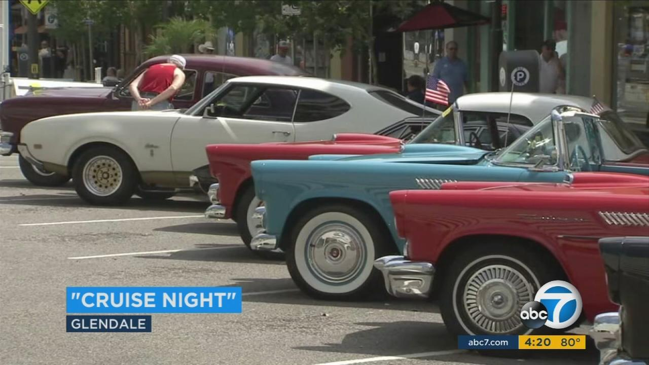 A row of classic cars is shown during the Glendale Cruise Night event in downtown on Saturday, July 15, 2017.