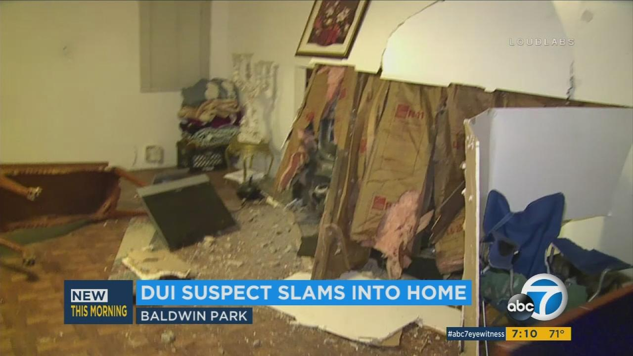 Alleged DUI Driver Slams Into Cars Baldwin Park Home