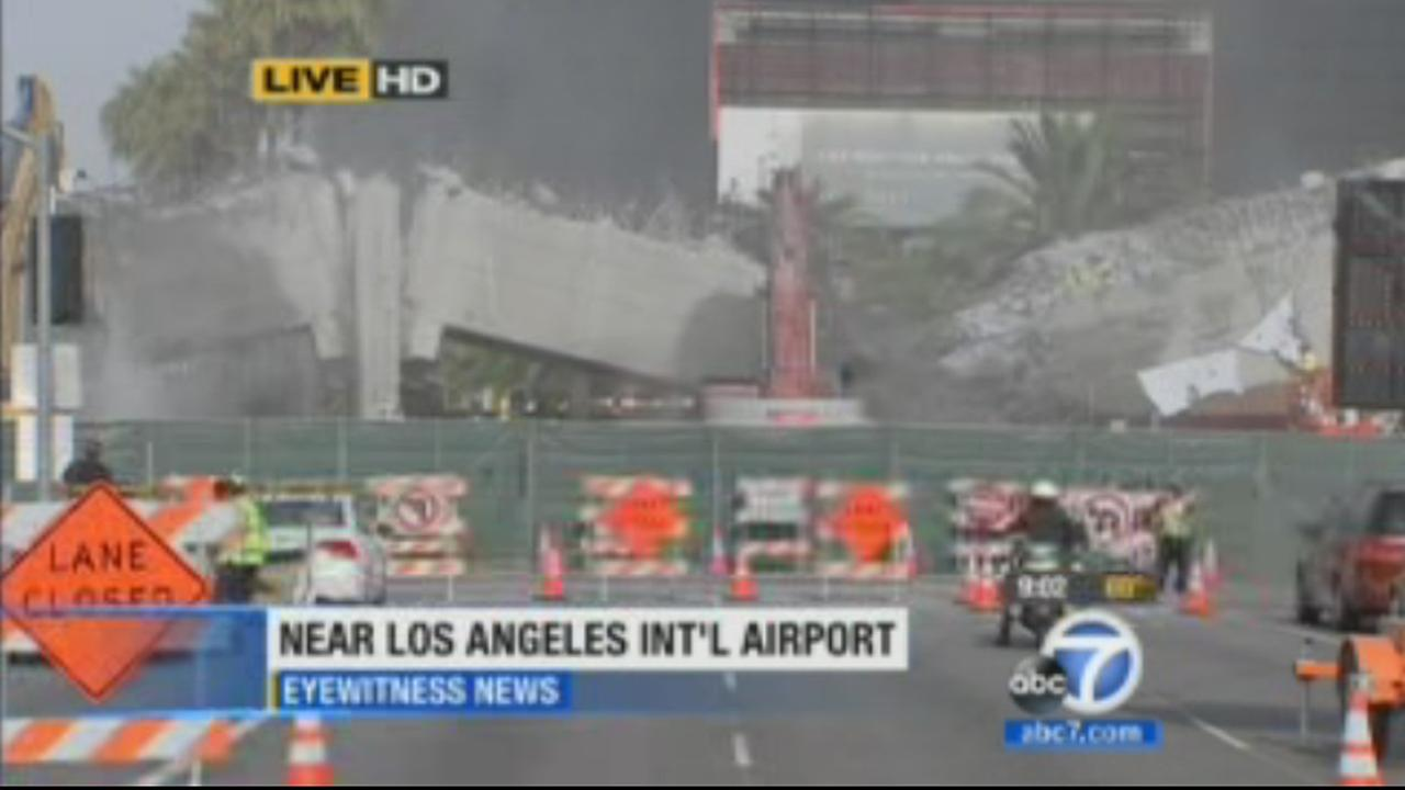 A bridge near LAX is seen after crews successfully tore it down on Saturday, July 26, 2014.