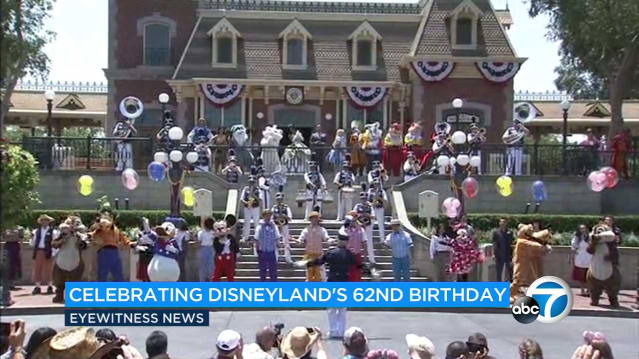 A total of 62 Disney characters gathered at Disneylands Main Street to sing happy birthday as the park celebrated its 62nd anniversary on Monday, July 17, 2017.