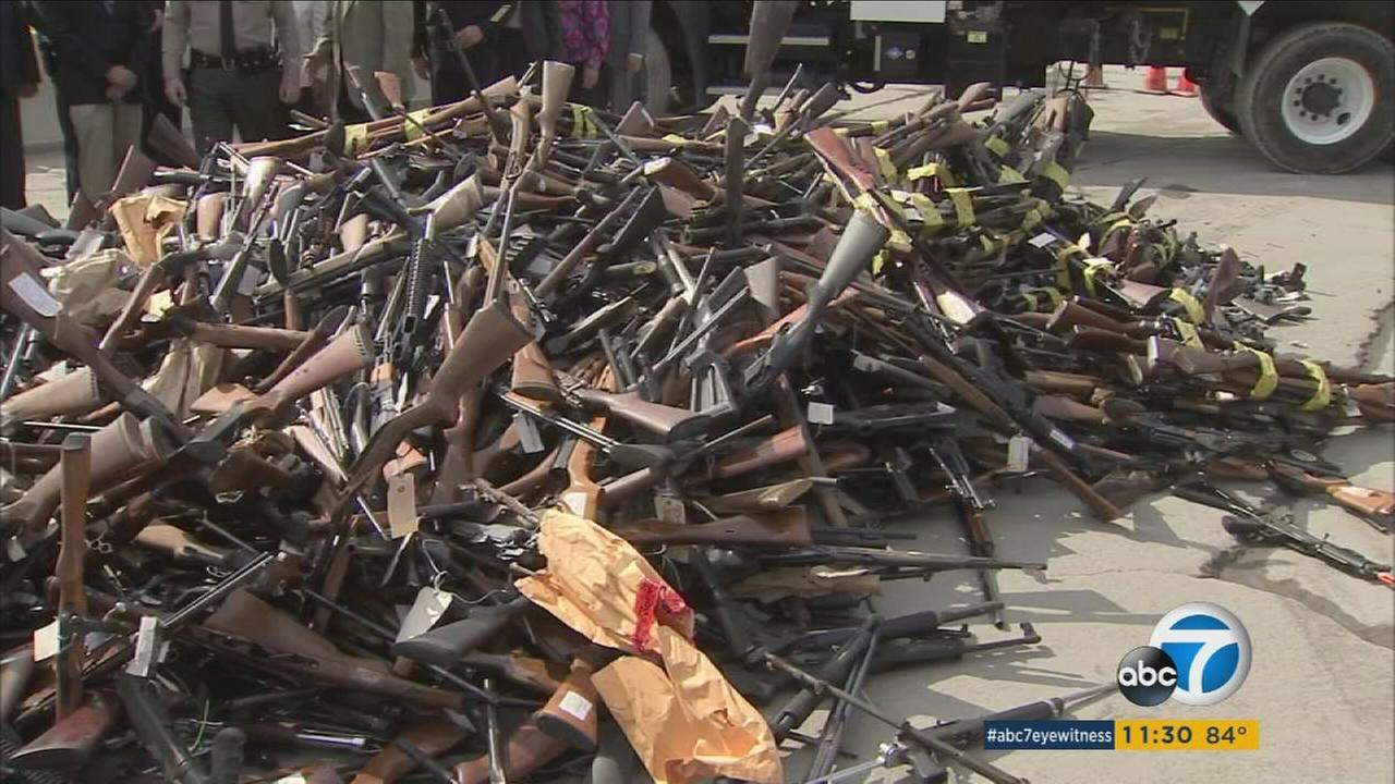 Nearly 5,000 illegal confiscated guns were melted at an annual event in Rancho Cucamonga, ready to be turned into material that will help transform Californias infrastructure.