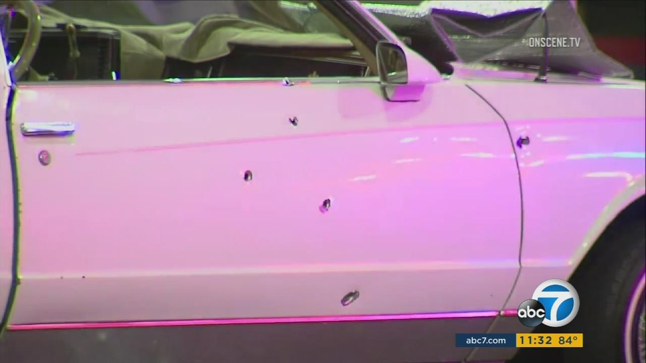 A vehicle is shown riddled with bullet holes after three suspects opened fire on a couple in Inglewood on Tuesday, July 19, 2017.