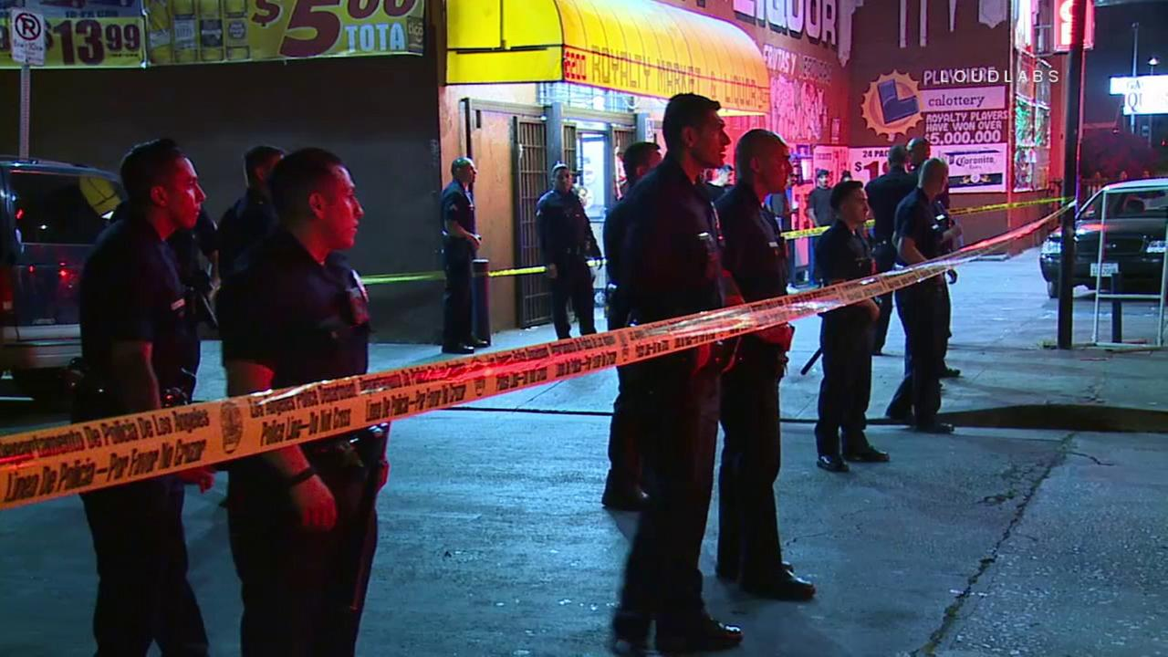 A man was killed Wednesday, June 20, 2017, in a shooting near a liquor store in South Angeles, prompting a massive police response.