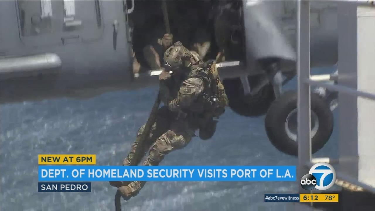 The U.S. Coast Guard performed a nuclear-detection drill at the ports of Los Angeles and Long Beach to demonstrate its readiness to Homeland Security Secretary John Kelly.