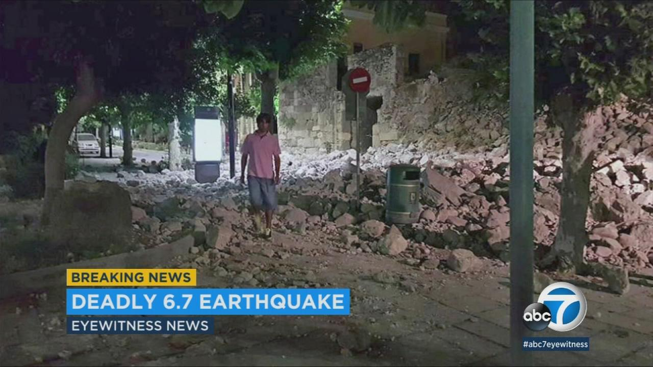 The aftermath of an earthquake that shook Turkey and Greek islands on Thursday, July 20, 2017.