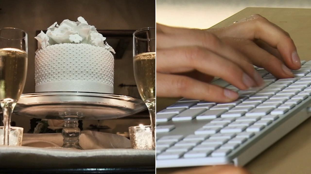 Left: A wedding cake is displayed. Right: A person types on a computer.