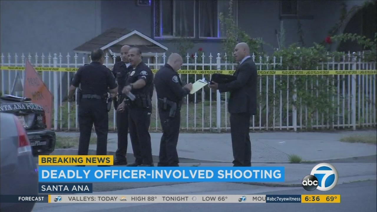 Santa Ana police shot and killed a person Friday, July 21, 2017, after responding to a report of a domestic dispute, authorities said.
