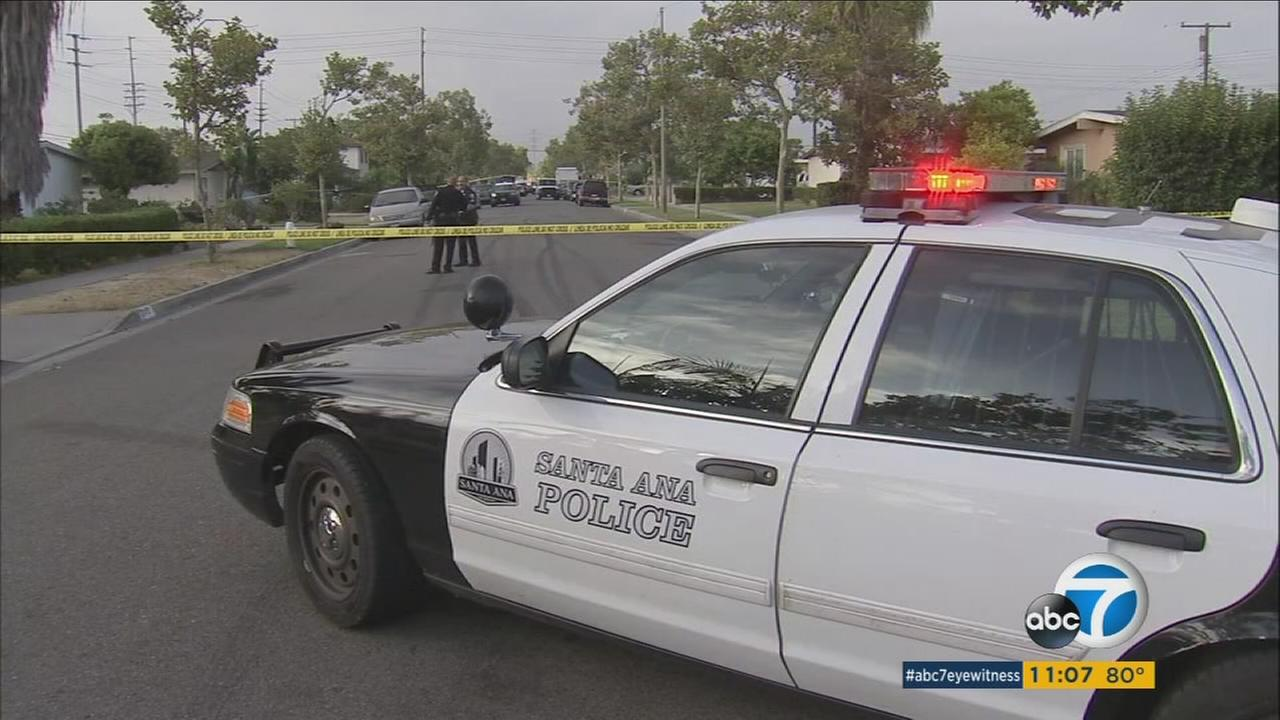 Santa Ana police blocked off a street after a fatal officer-involved shooting broke out over reports of a domestic dispute on Friday, July 21, 2017.
