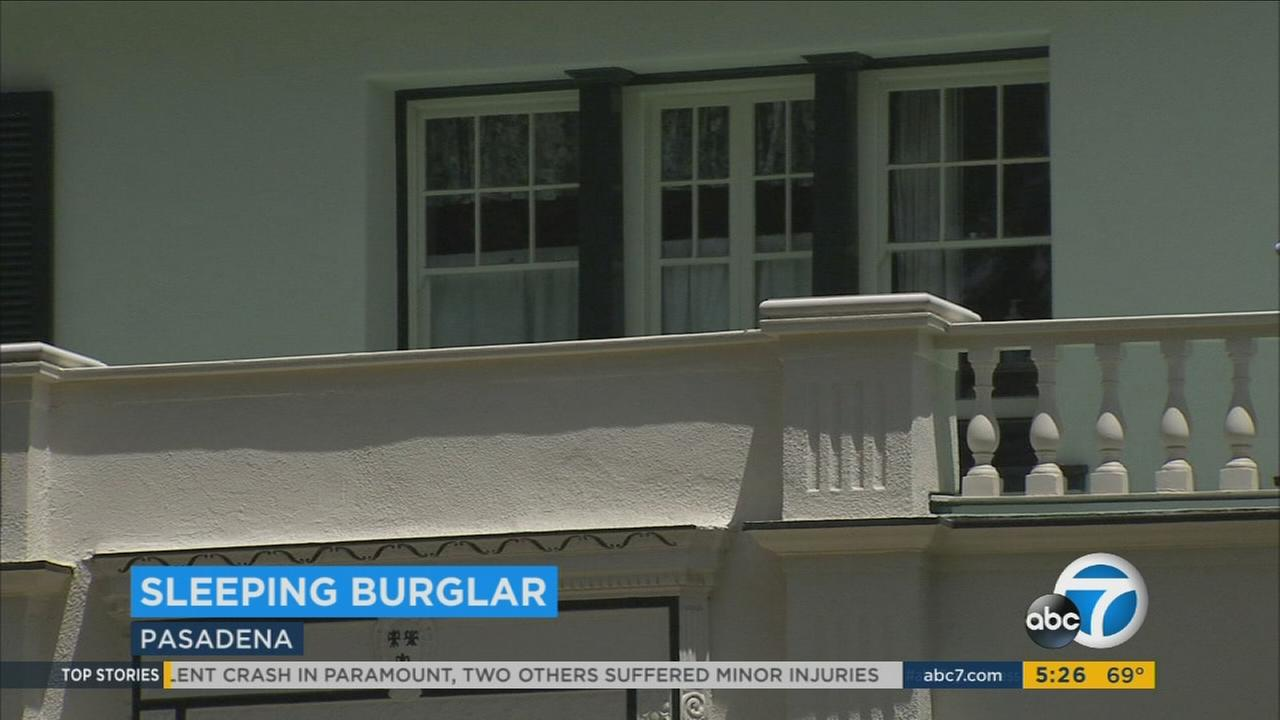 A Pasadena couple woke up to find a burglar on the floor of their home, fast asleep after making himself a sandwich and helping himself to drinks.