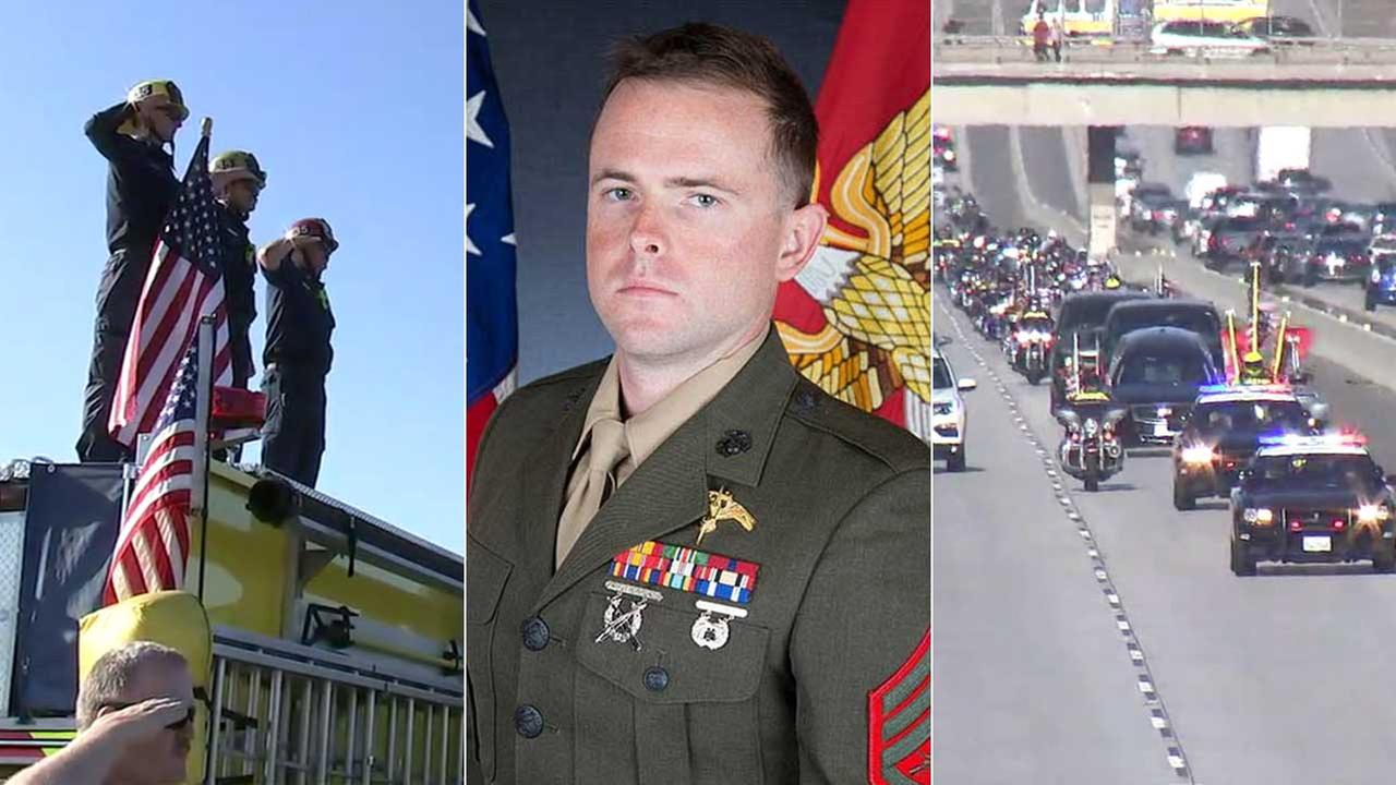 (Center) Staff Sgt. Robert H. Cox, 28, is seen in a photo from the U.S. Marine Corps. (Left, right) Southlanders pay respect to Cox with a procession to Ventura.