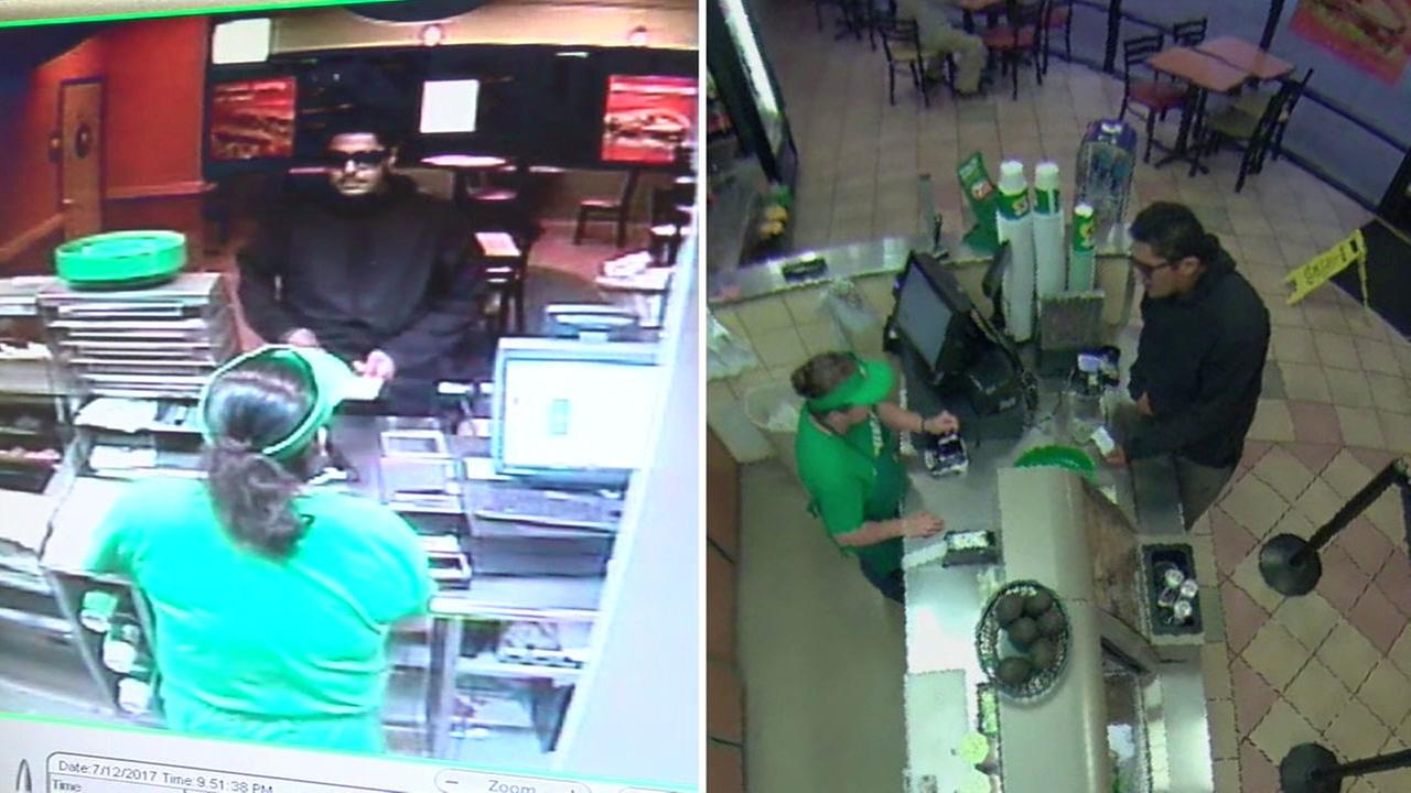 A suspect believed to be involved in a string of robberies in Orange County is captured on surveillance video.