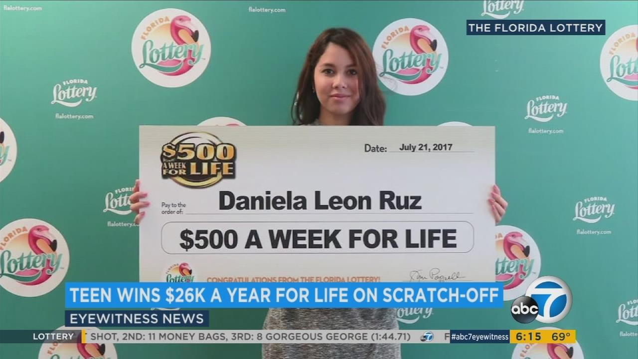 At age 18, a Florida girl will receive $26,000 a year for the rest of her life after winning the big prize on a $1 scratch-off ticket.