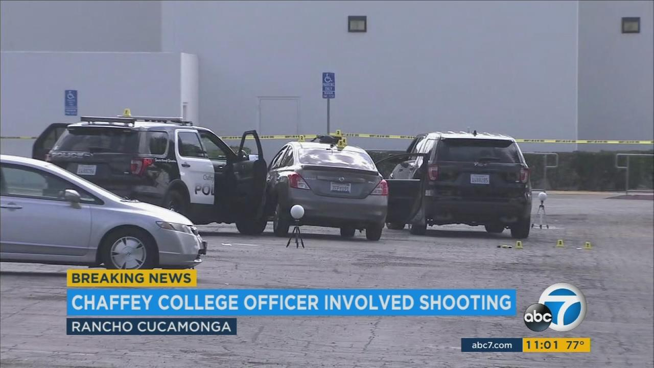 The scene of an officer-involved shooting at Chaffey College in Rancho Cucamonga on Tuesday, July 25, 2017.