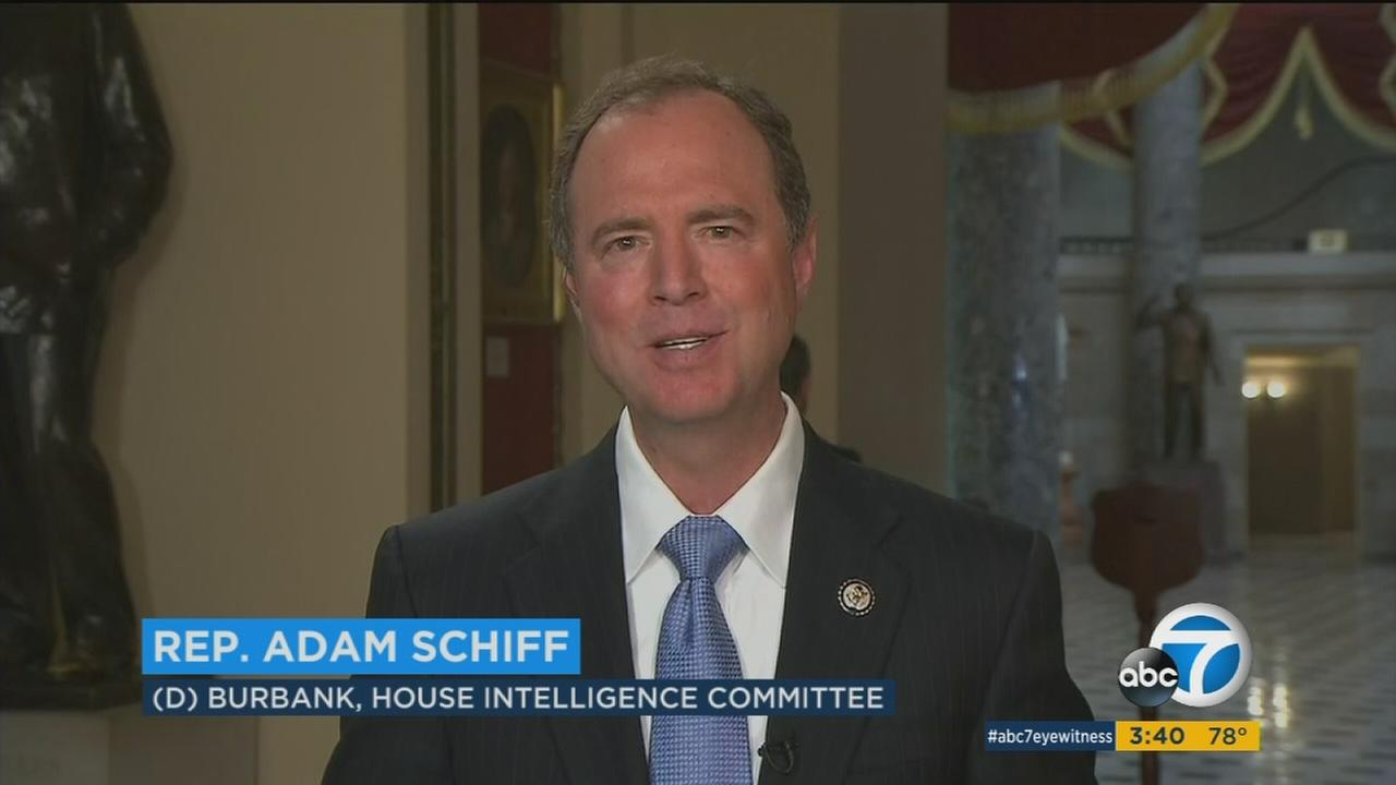 Congressman Adam Schiff is shown in Washington during a satellite interview with ABC7 on Tuesday, July 25, 2017.