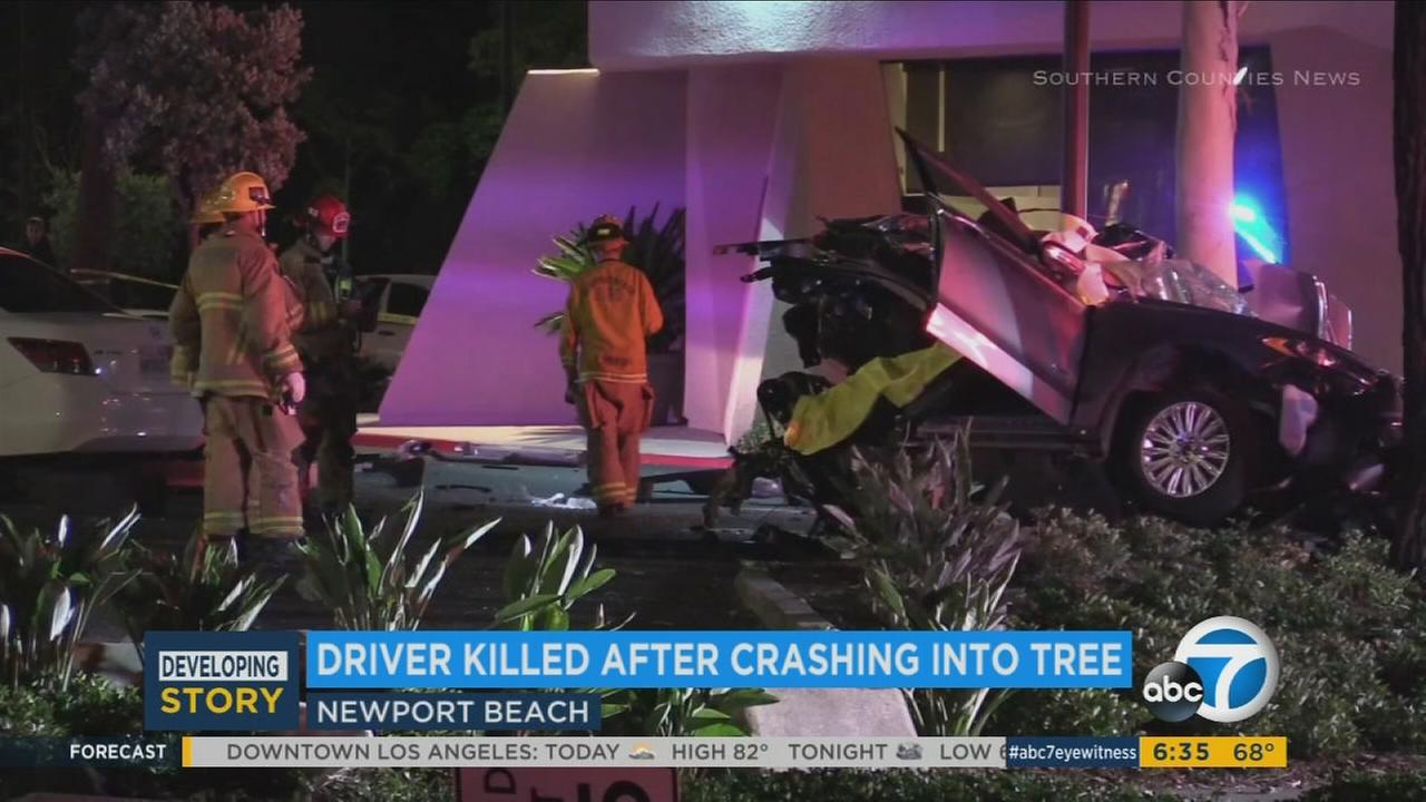 A car split in two after a crash in Newport Beach that left the driver dead on Tuesday, July 25, 2017.