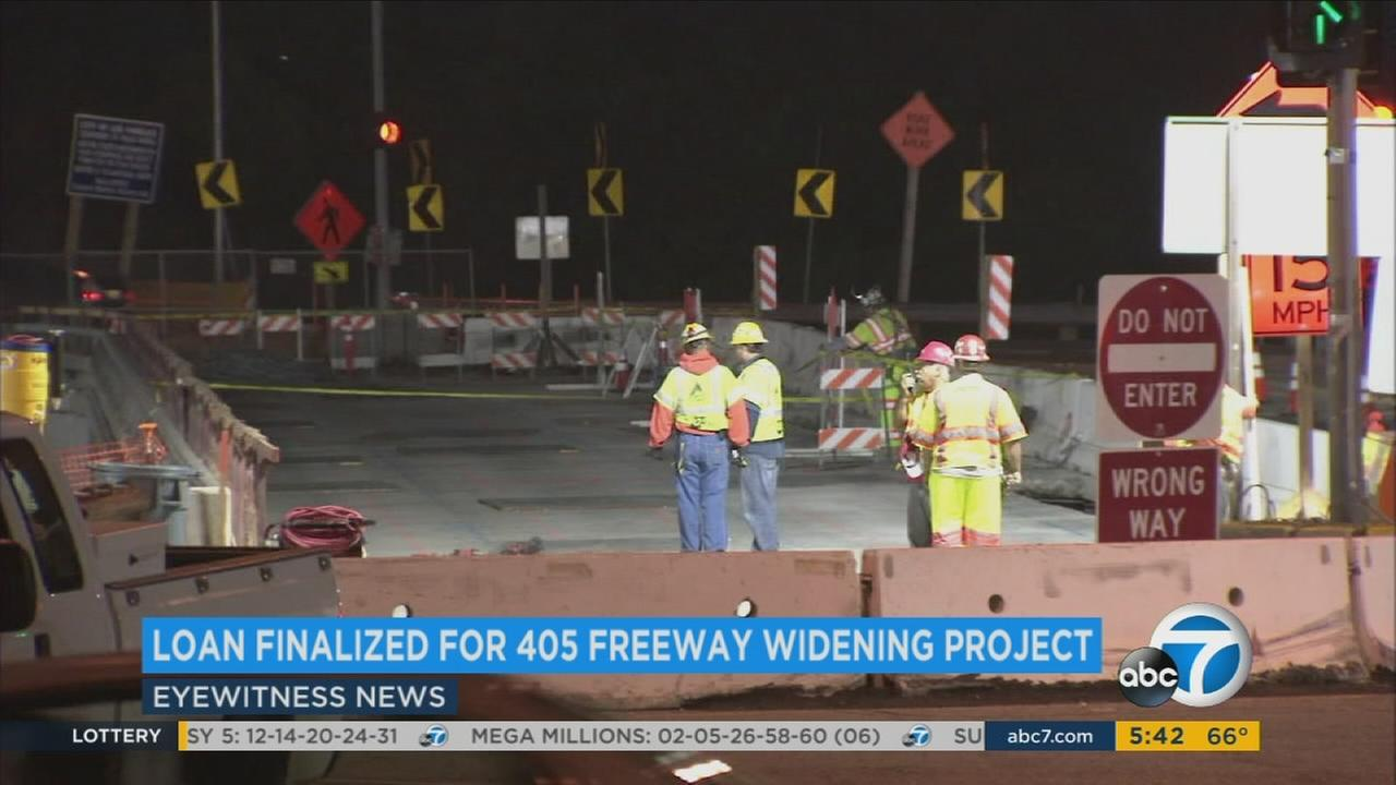 Construction crews work on the 405 Freeway in a file photo.