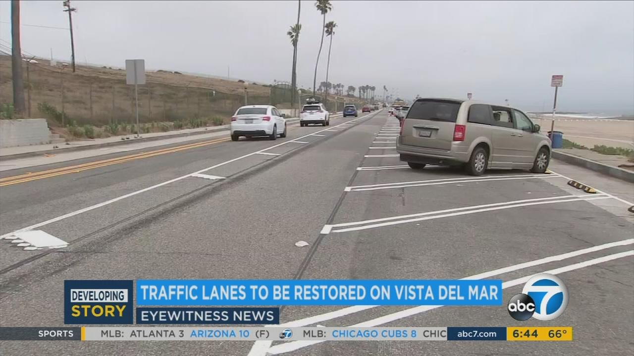 Vista del Mar is shown as a one-lane road, but it will soon go back to having more lanes in Playa del Rey after people complained.
