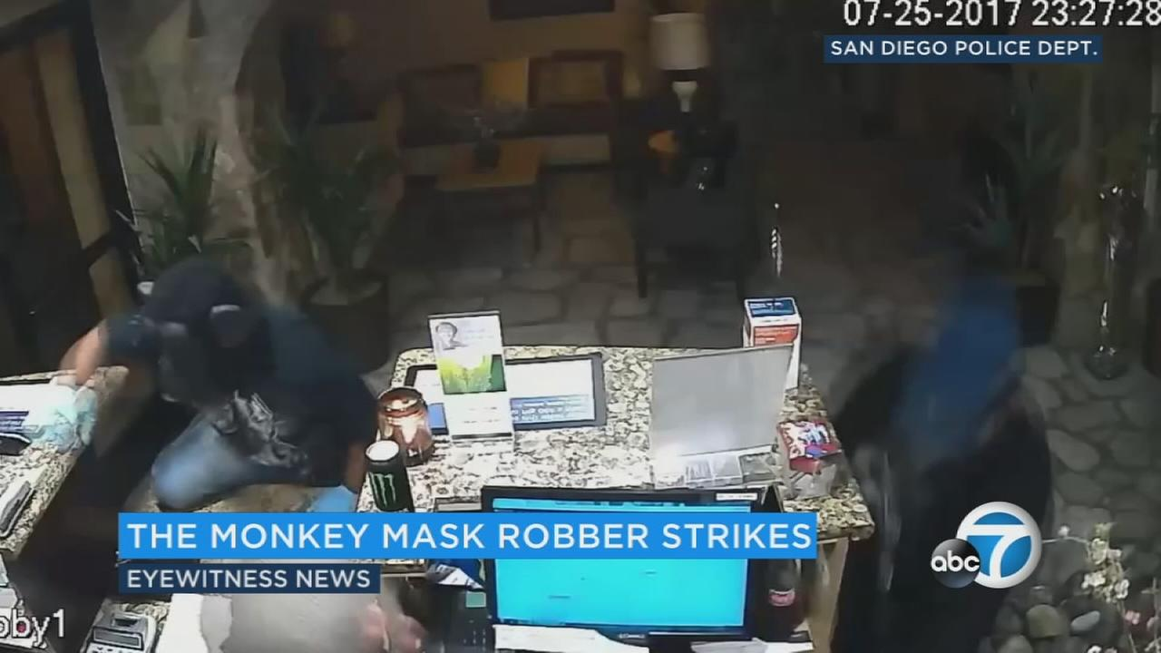Investigators in the San Diego area say two armed robbers were not monkeying around.