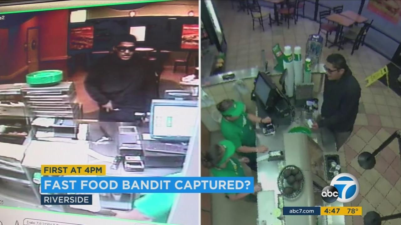 A man is shown in two surveillance videos robbing fast food restaurants in SoCal.