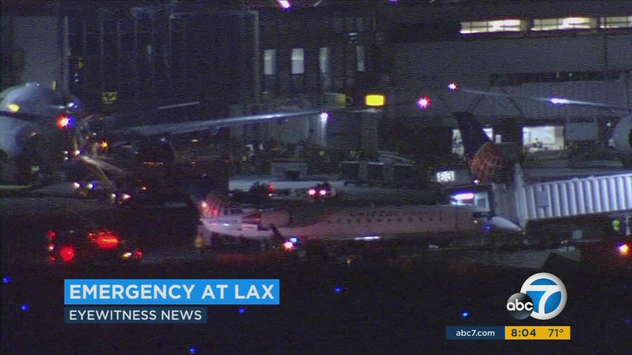 Emergency personnel responded to Los Angeles International Airport Friday night when a planes engine suddenly started smoking.