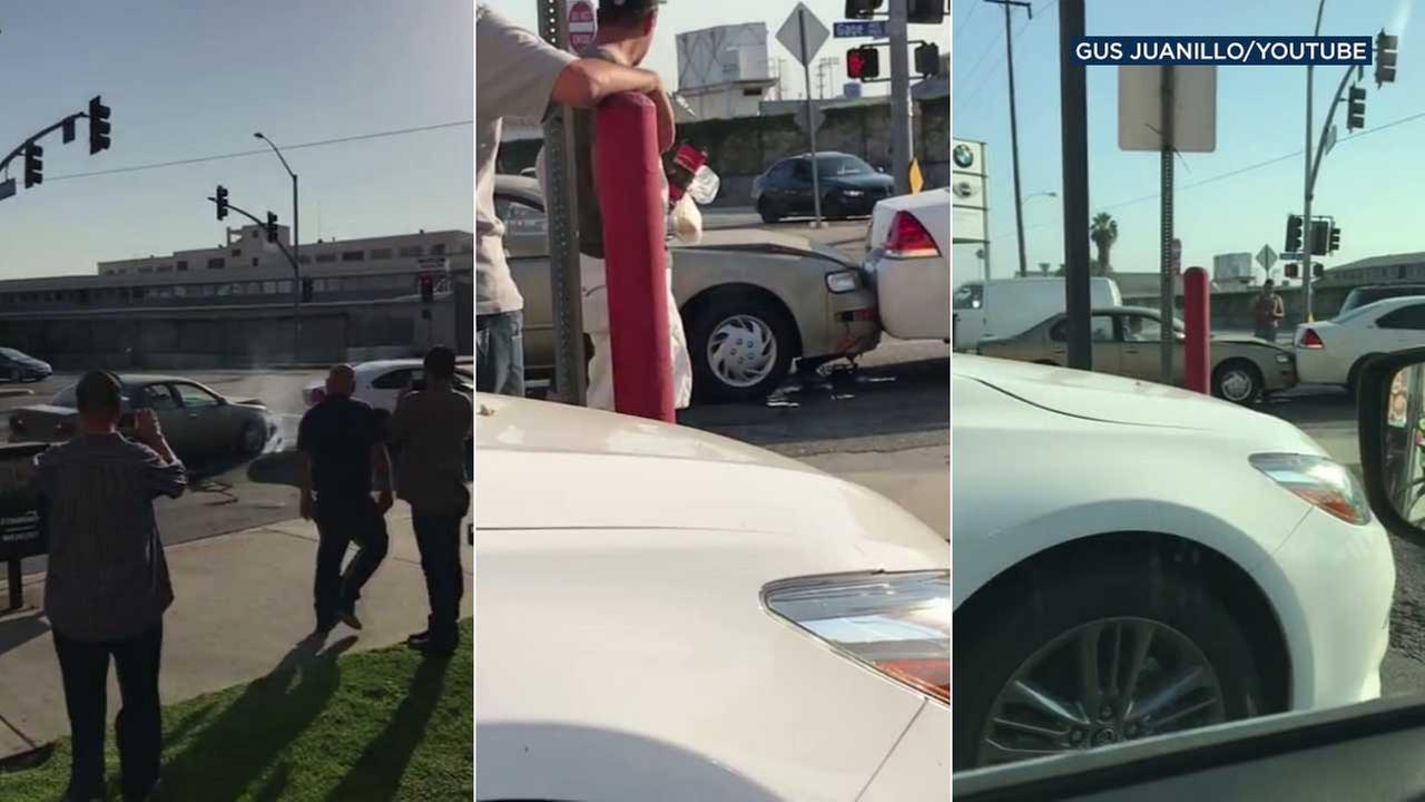 A driver was caught on video repeatedly rear-ending his car into the vehicle in front of him in Huntington Park.