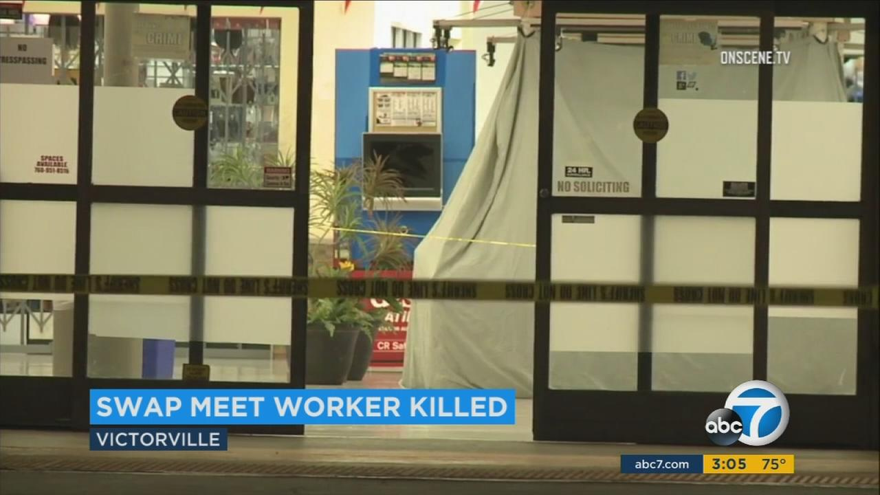 A clerk was robbed and then stabbed to death inside a Victorville shopping mall on Sunday.