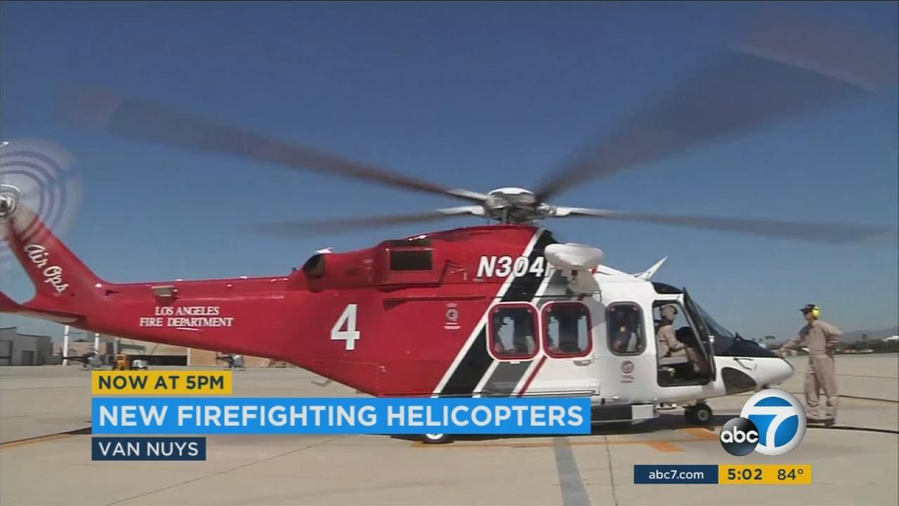 The Los Angeles Fire Departments new Agusta Westland AW139 helicopter is seen in Van Nuys on Wednesday, Aug. 2, 2017.