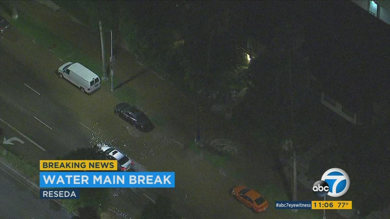 A water main break in Reseda on Wednesday, Aug. 2, 2017.