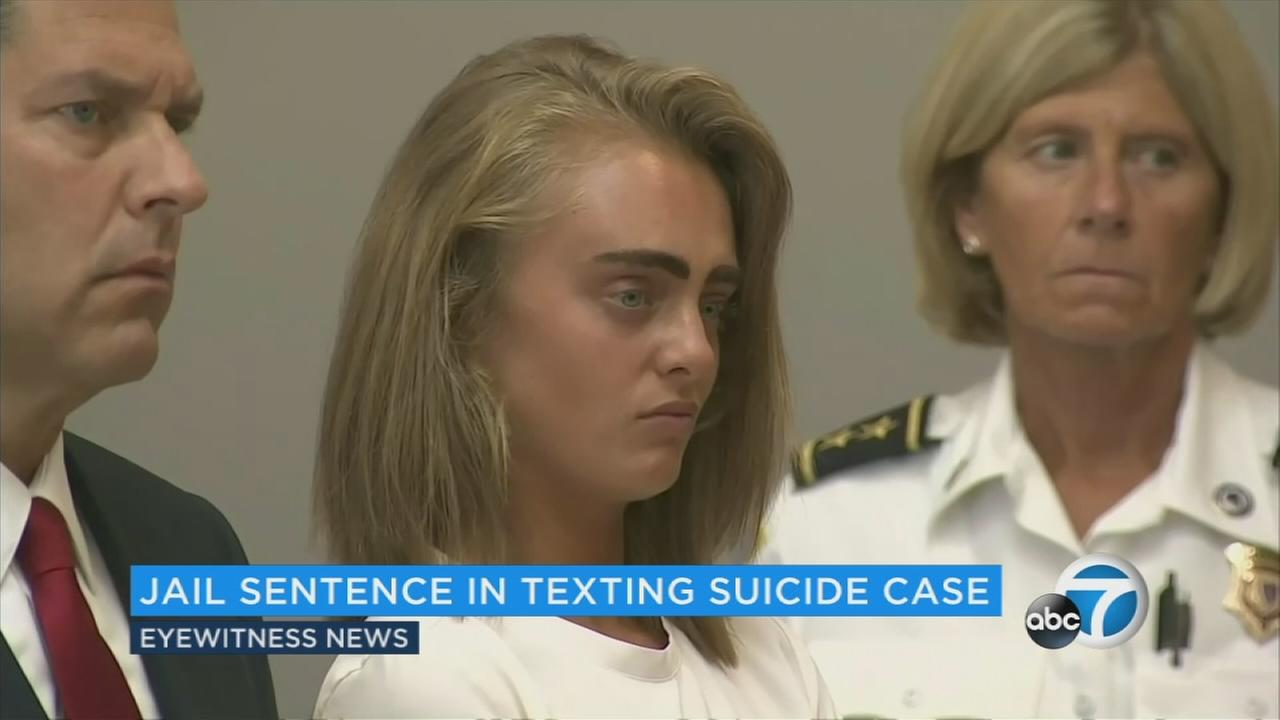 A Massachusetts woman who encouraged her boyfriend to kill himself in dozens of text messages was sentenced Thursday to 15 months in jail for involuntary manslaughter.