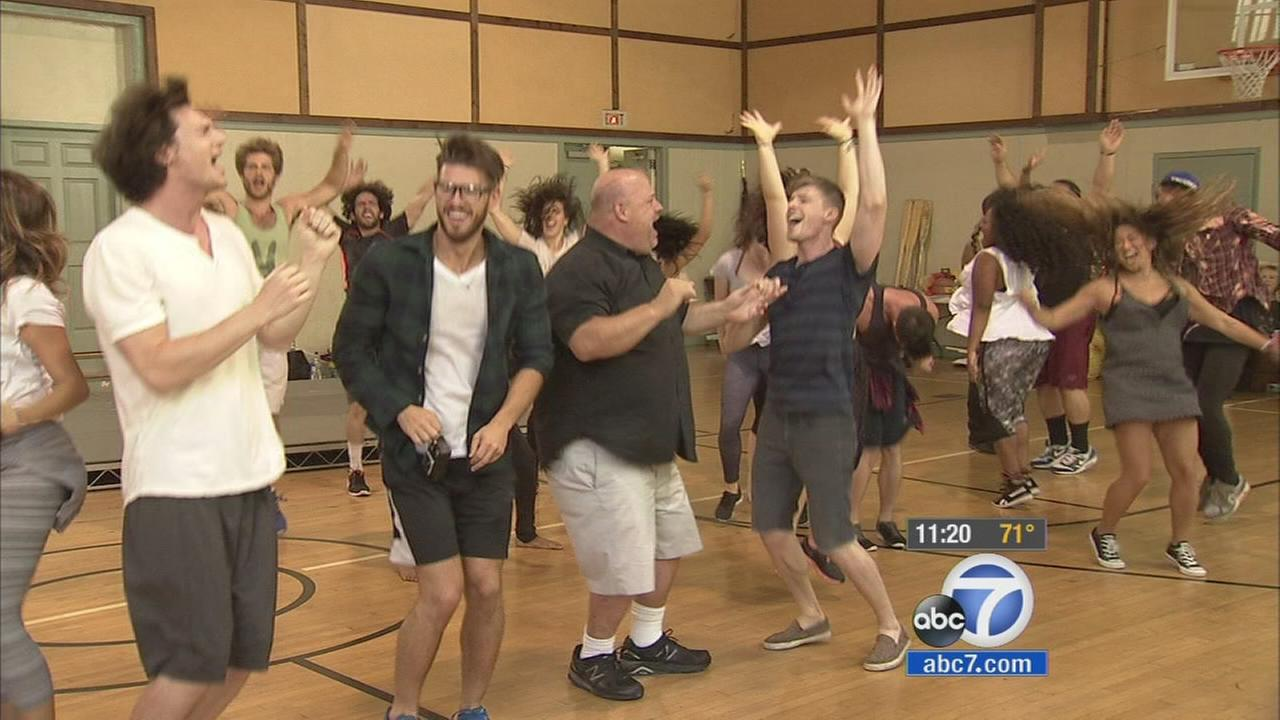 The cast of Hair rehearses before its weekend shows at the Hollywood Bowl.