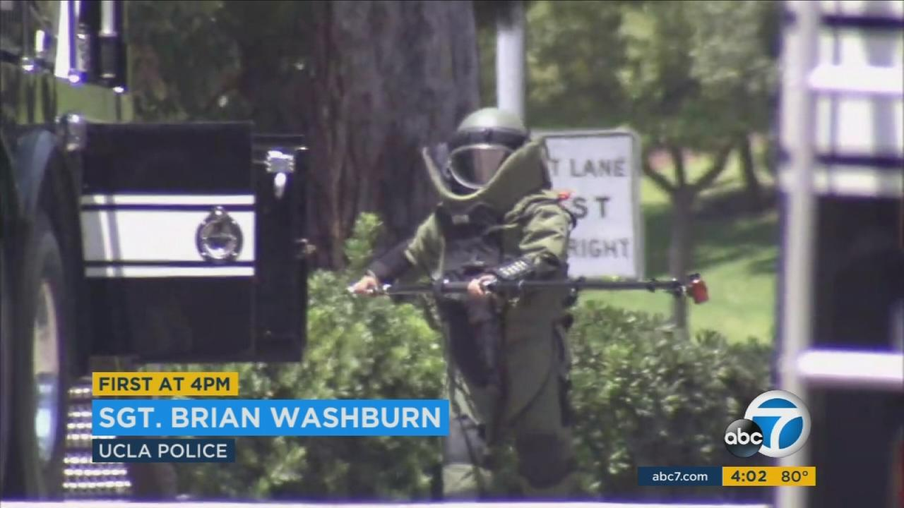 LAPD bomb squad crews detonate a dangerous chemical substance at UCLA on Saturday, Aug. 5, 2017.