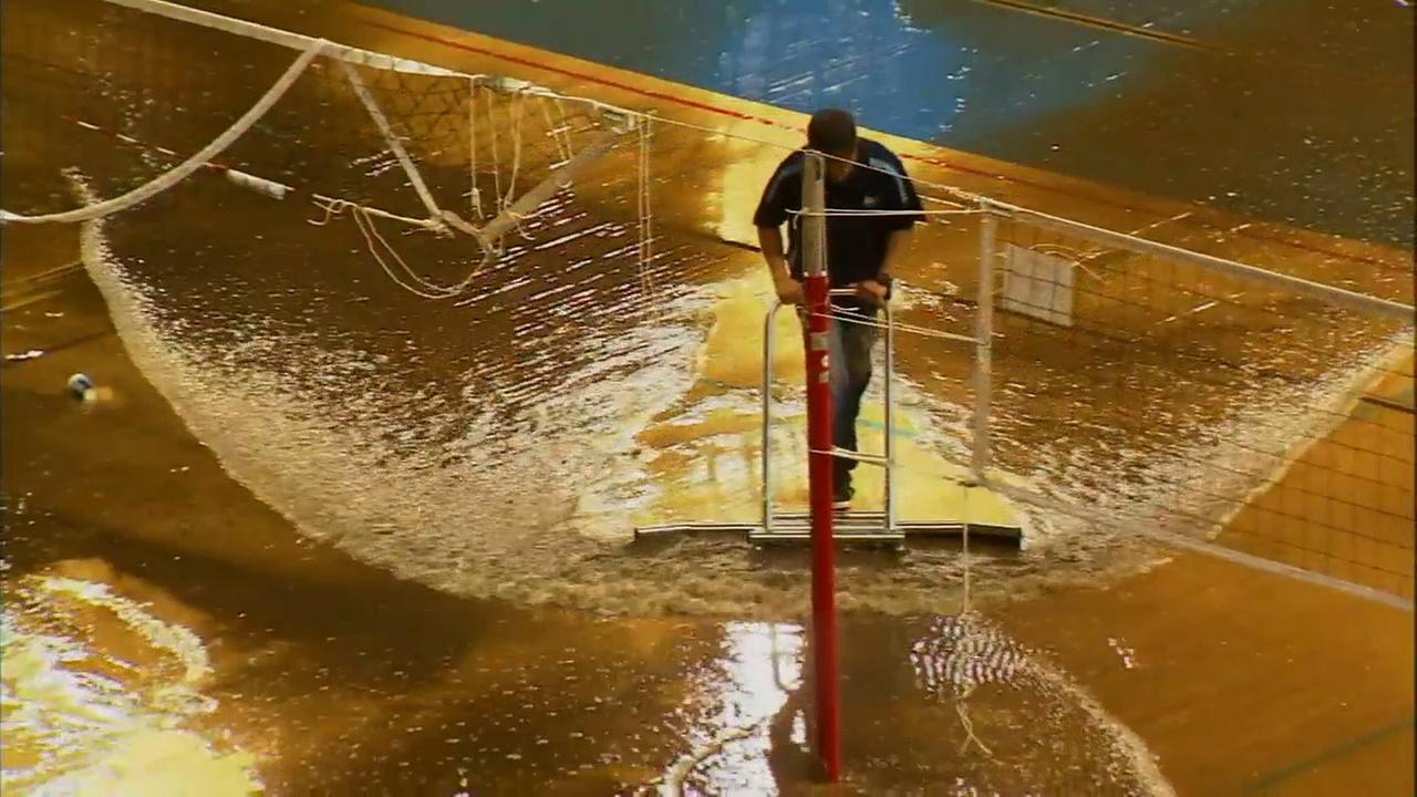 UCLAs Pauley Pavilion was flooded during a water-main break in Westwood on Tuesday, July 29, 2014.