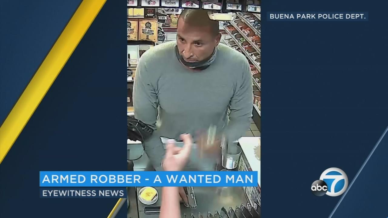 Surveillance video shows an armed robber striking a Chevron gas station in Buena Park on Friday, Aug. 4, 2017.