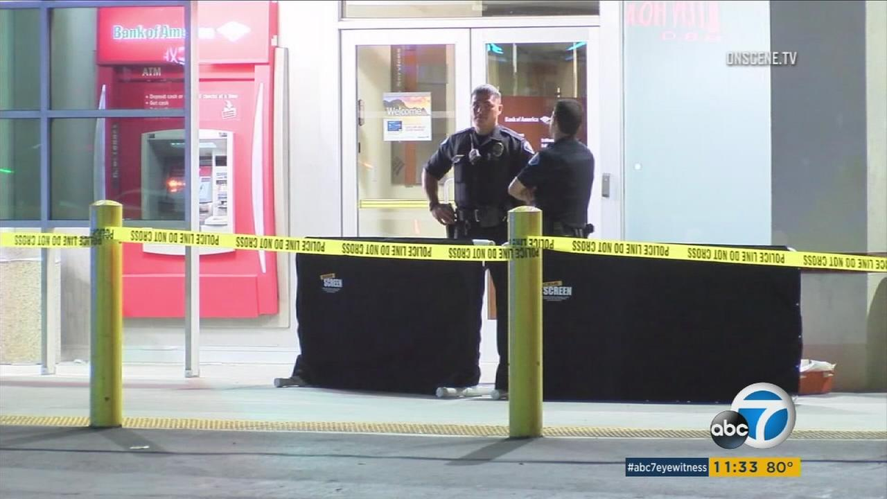 The scene of a fatal shooting outside a Bank of America in Garden Grove on Sunday, Aug. 6, 2017.