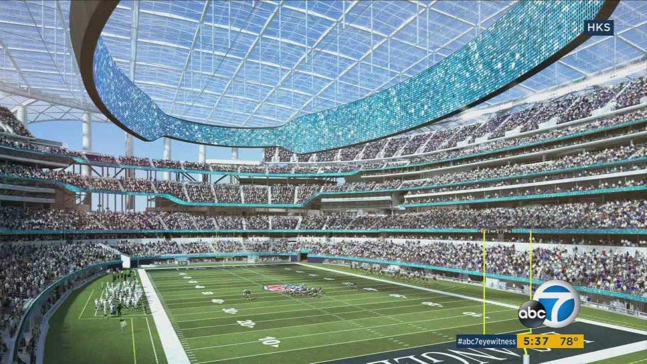 A rendering shows the inside of the NFL stadium for the L.A. Chargers and the L.A. Rams slated to come to Inglewood in 2020.