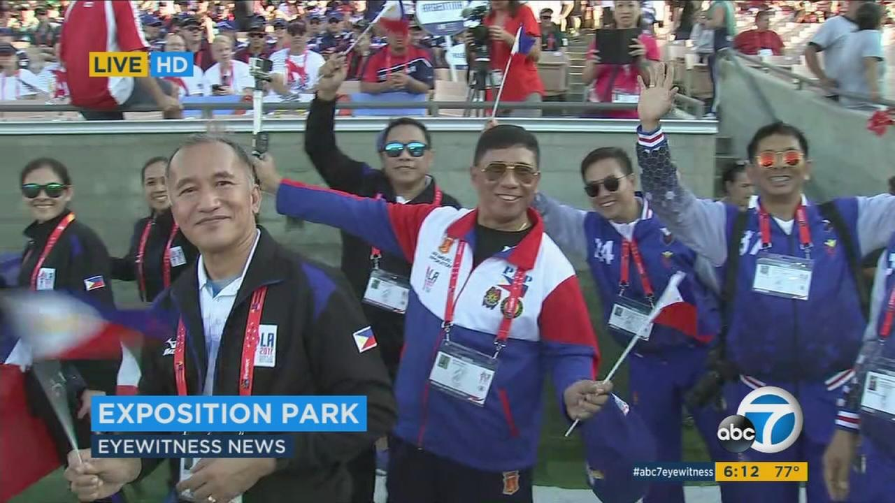 The opening ceremony kicked off on Sunday at Exposition Park with 8,600 athletes from more than 70 countries participating in the Parade of Nations.