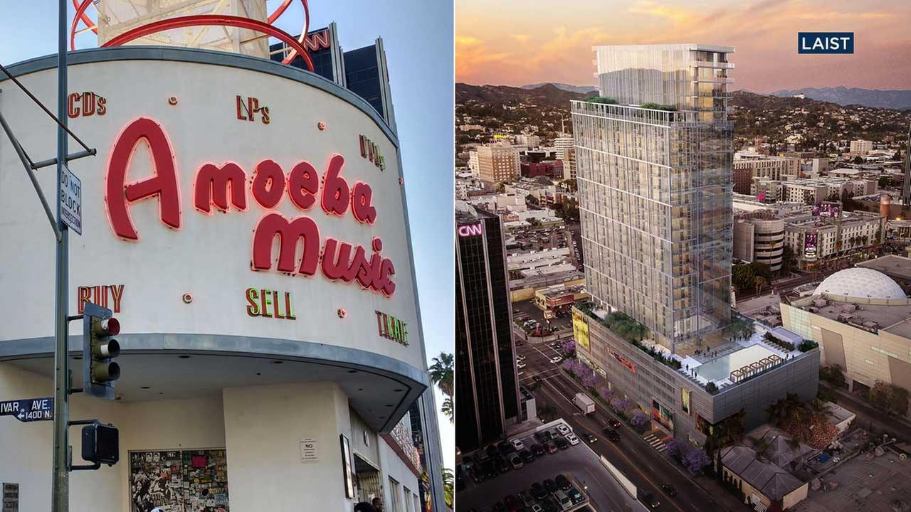 Left: Hollywoods Amoeba Music location is shown in a file photo. (Shutterstock) Right: A rendering depicts a mixed-use high-rise building at Amoebas current location. (LAist)