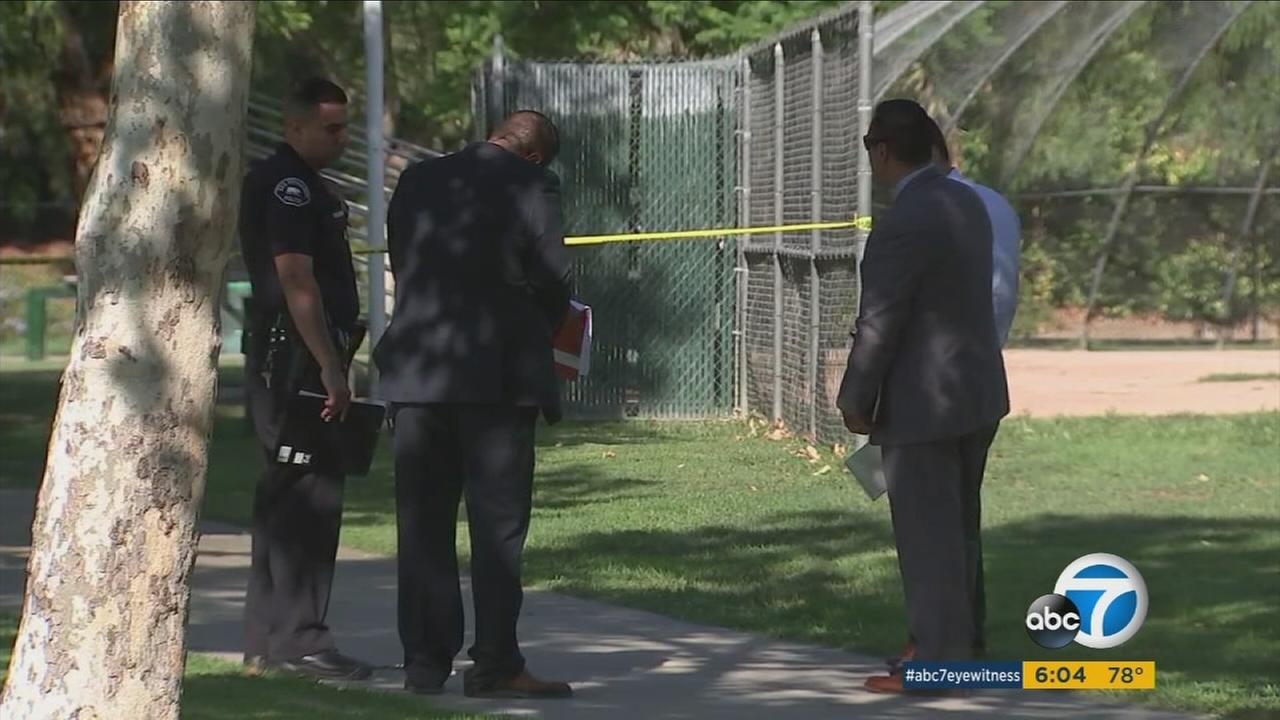 Authorities surrounded an area of a park in San Fernando where a man was found stabbed to death the night before.