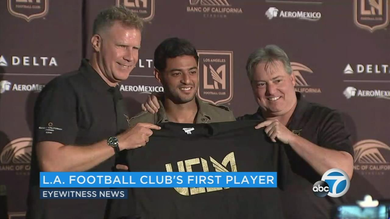 Mexican soccer star Carlos Vela appears at a press conference on Friday, Aug. 11, 2017