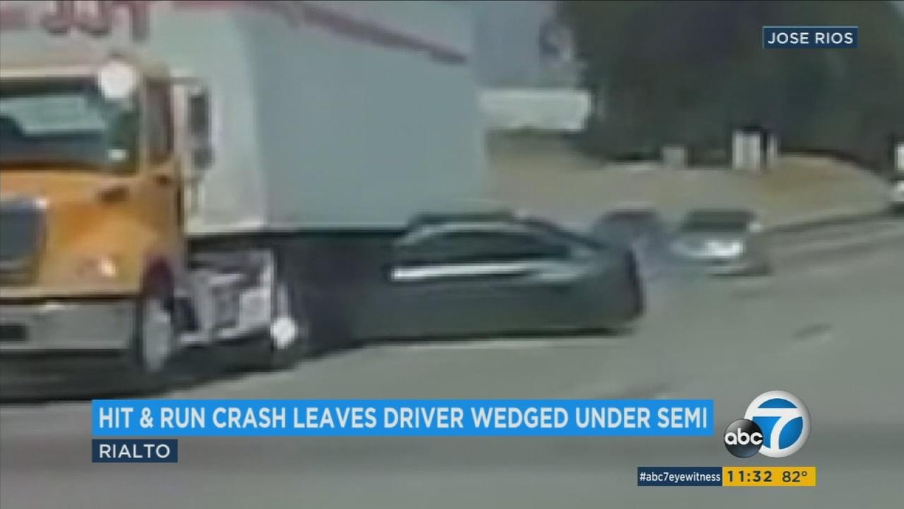 Dashcam video shows a sedan being sideswiped by a speeding car on the 10 Freeway in Rialto.