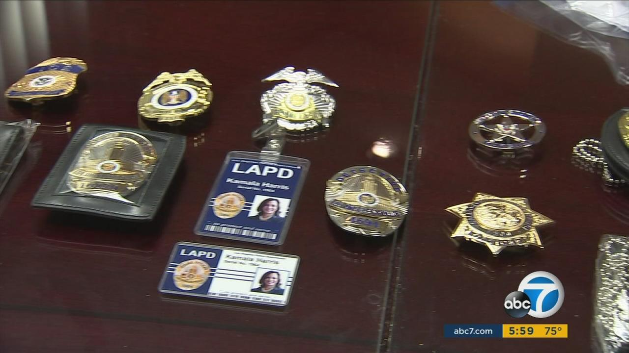 A display of several knock-off law enforcement badges.