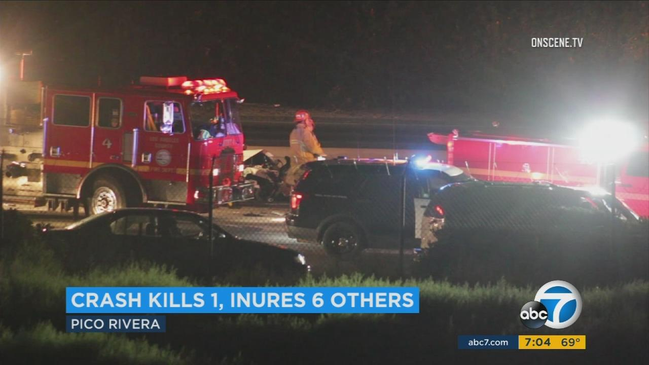 Emergency personnel respond to a fatal multi-vehicle crash on the 605 Freeway in Pico Rivera on Sunday, Aug. 13, 2017.