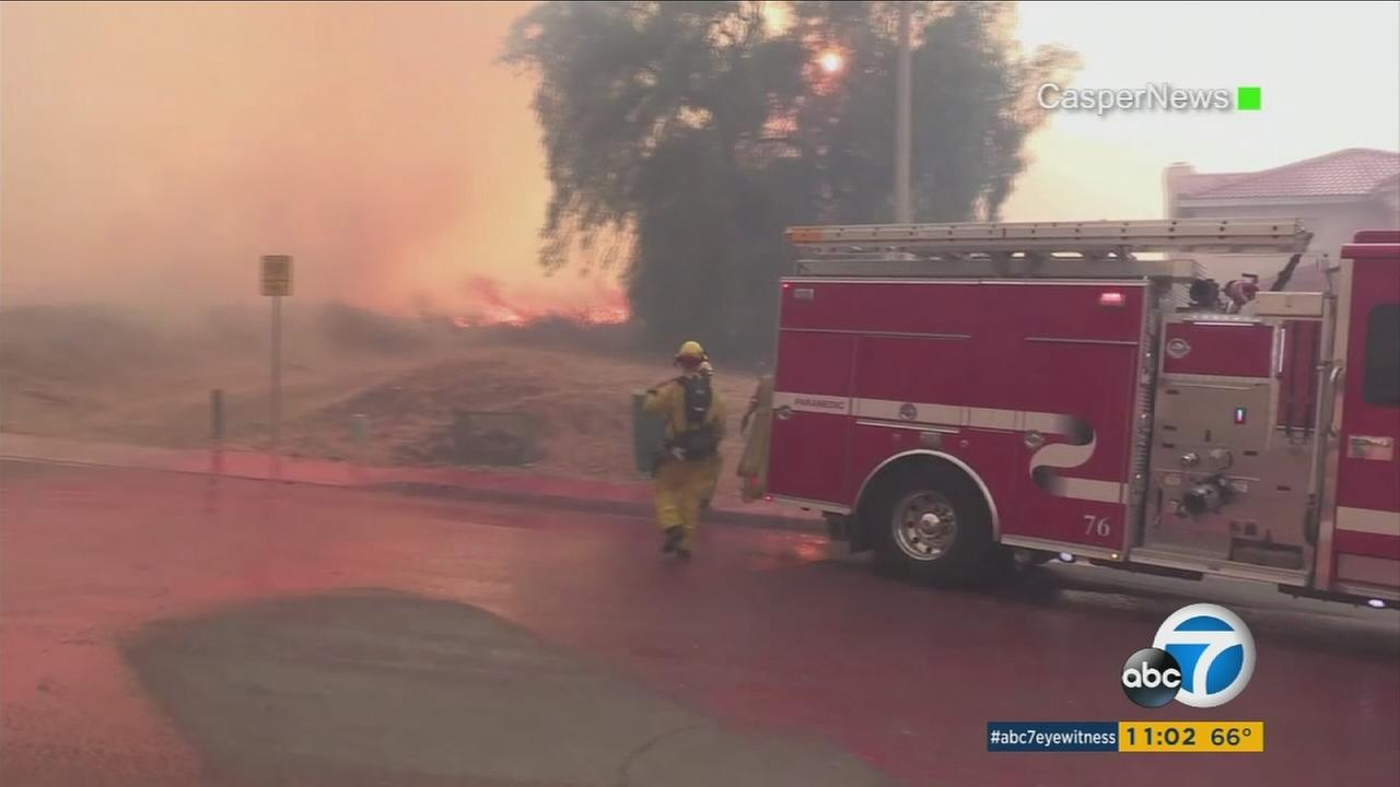 Firefighters battled a 1,000-acre blaze in the Box Springs Mountain area of Riverside on Sunday.
