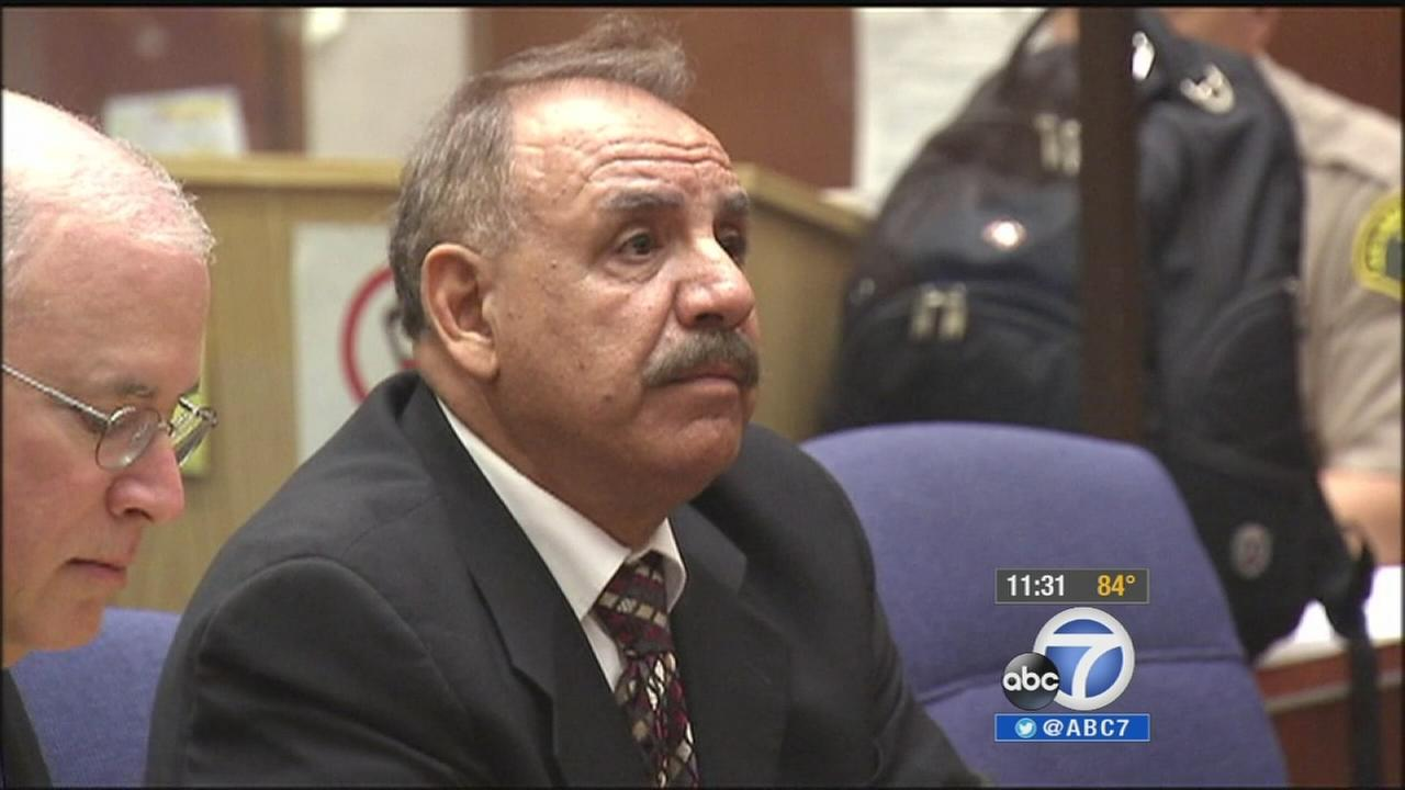 Former Bell Mayor Oscar Hernandez is seen in court on Thursday, July 31, 2014.
