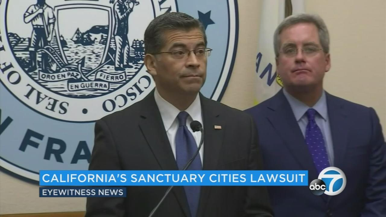 San Francisco officials speak on Monday, Aug. 14, 2017, after announcing theyre suing the U.S. Department of Justice over sanctuary city restrictions on public safety grants.