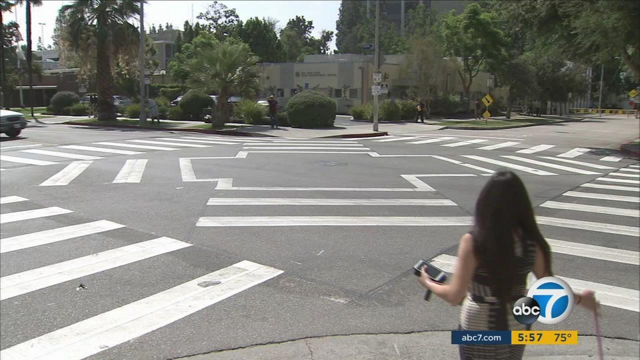 You may have seen diagonal crosswalks before, but this is the first time you will see a scramble crosswalk in the San Fernando Valley.